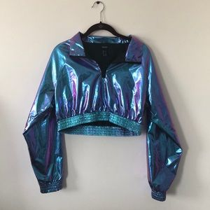 Forever 21 iridescent shiny cropped zip up top